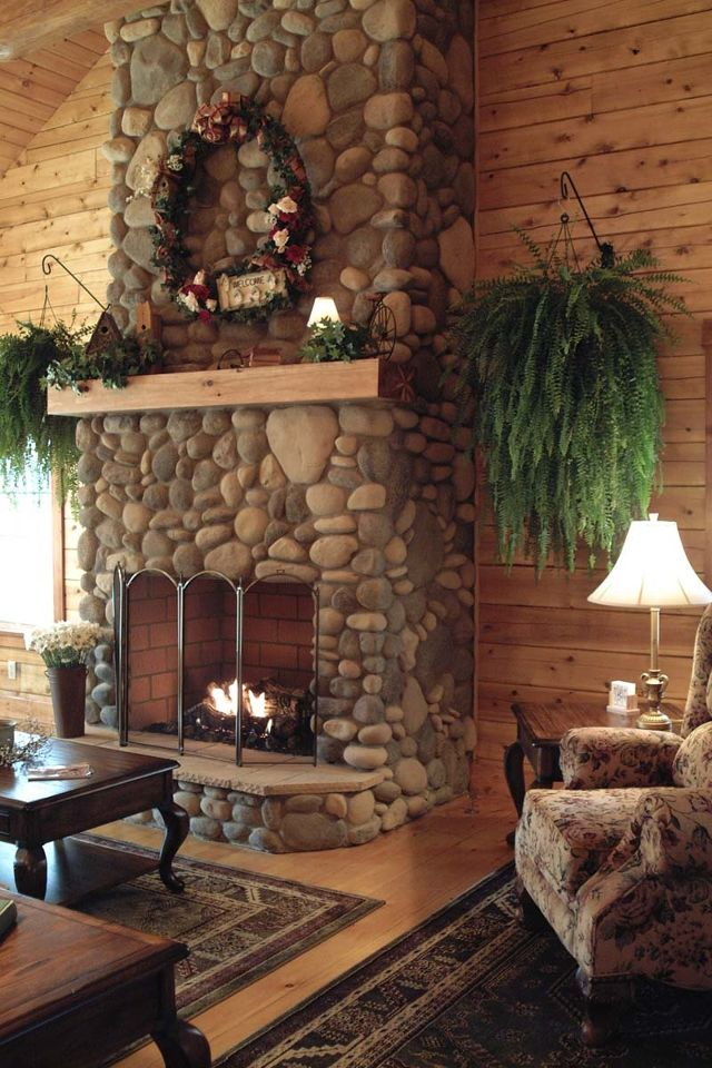 rock fireplace for the home pinterest