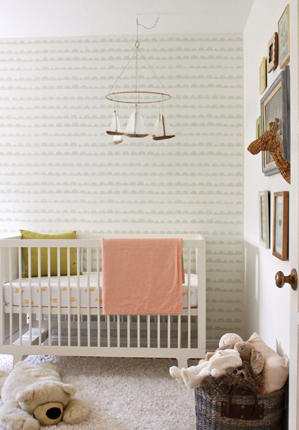 Great wallpaper for neutral nursery.