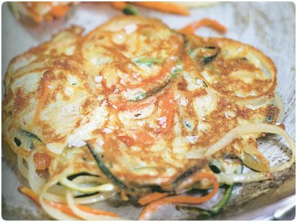 Curtis Stone's Crispy Vegetable Fritters, no carb and healthy...if you omit serving with sour cream!