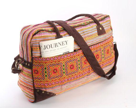 Large Hmong Southwestern Holiday Bag, Travel Bag, Suitcase, Overnight Bag, Getaway bag, Vacation Bag