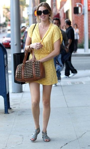 Whitney Port Photos - 'The Hills' star Whitney Port out running some errands in Beverly Hills. Whitney is sporting a yellow summer dress and a funky brown handbag. - Whitney Port Out And About In Beverly Hills