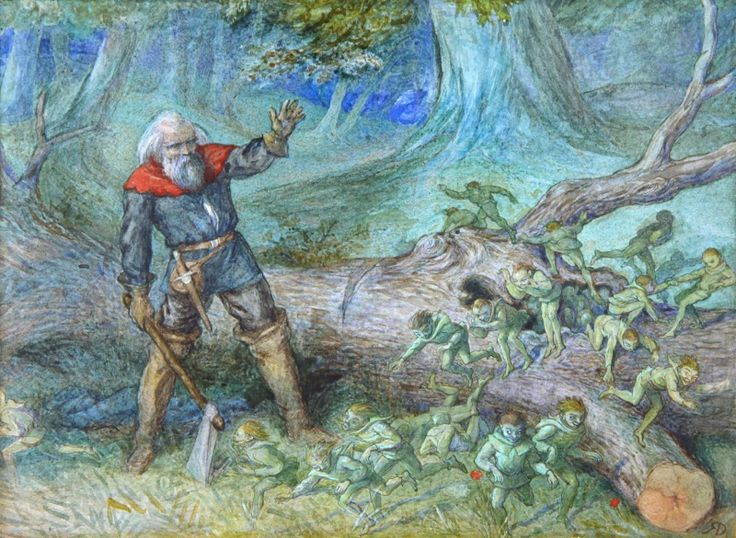 ''THE WOODMAN AND THE ELVES'' by RICHARD DOYLE - original artwork for sale | Chris Beetles