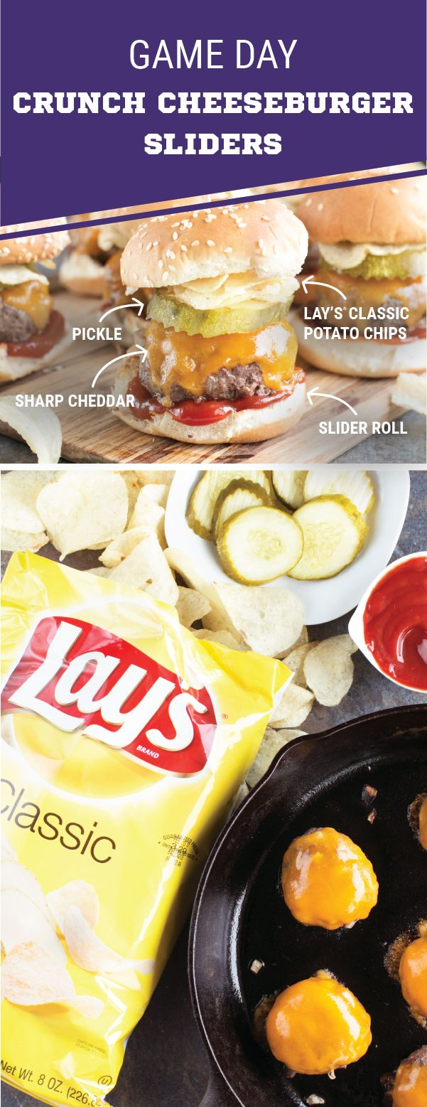 Sponsored by Frito-Lay. A crunchy twist on a classic party dish—now these Game Day Crunch Cheeseburger Sliders are something we can cheer for! By taking a traditional burger recipe and topping it with everything from LAY'S® Classic Potato Chips and sharp