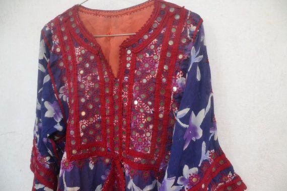 Vintage Vestido de gitana túnica Tribal vestido afgano por saruche