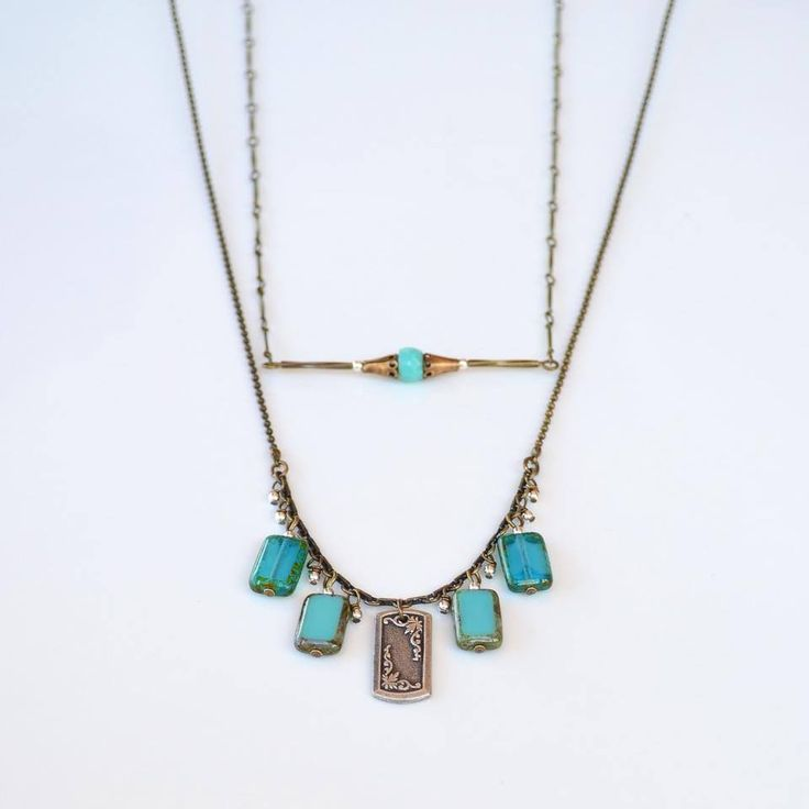 Milli (top) and Capri necklaces ~ Czech glass. Sterling & antiqued silver and brass ~ Milli adjustable length 62-66cm ~ & Capri also adjustable sitting below or above sternum