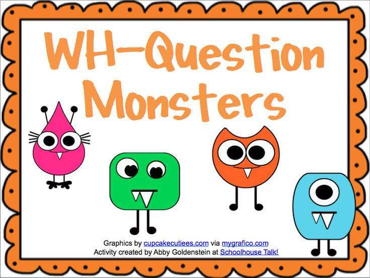 monsters card game targeting WH-questions
