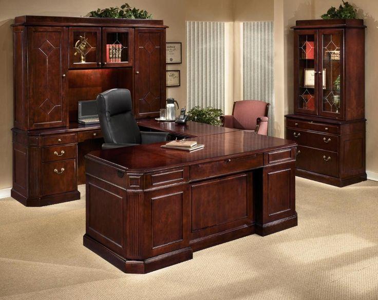 Dark Cherry Wood Office Desk