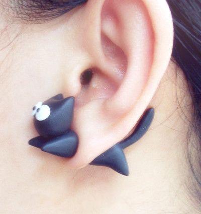 Handmade Cute Running Black Cat Two-Part Earrings