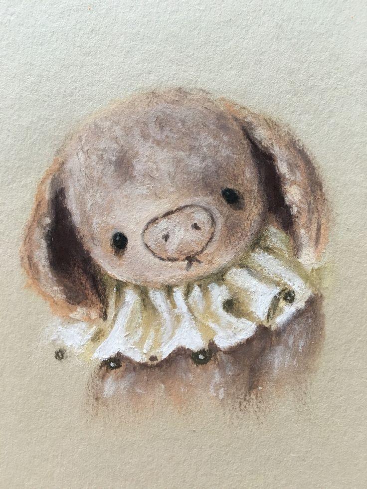 Teddy friend little pig piglet soft pastel drawing by Eli Bichita рисунок пастелью Тедди друг Хрюша