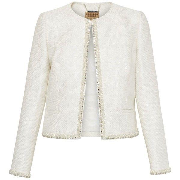Ted Baker Yulisa Embellished Cropped Metallic Boucle Jacket, Ivory ($295) ❤ liked on Polyvore featuring outerwear, jackets, white jacket, ivory boucle jacket, ted baker jacket, cropped boucle jacket and ivory jacket