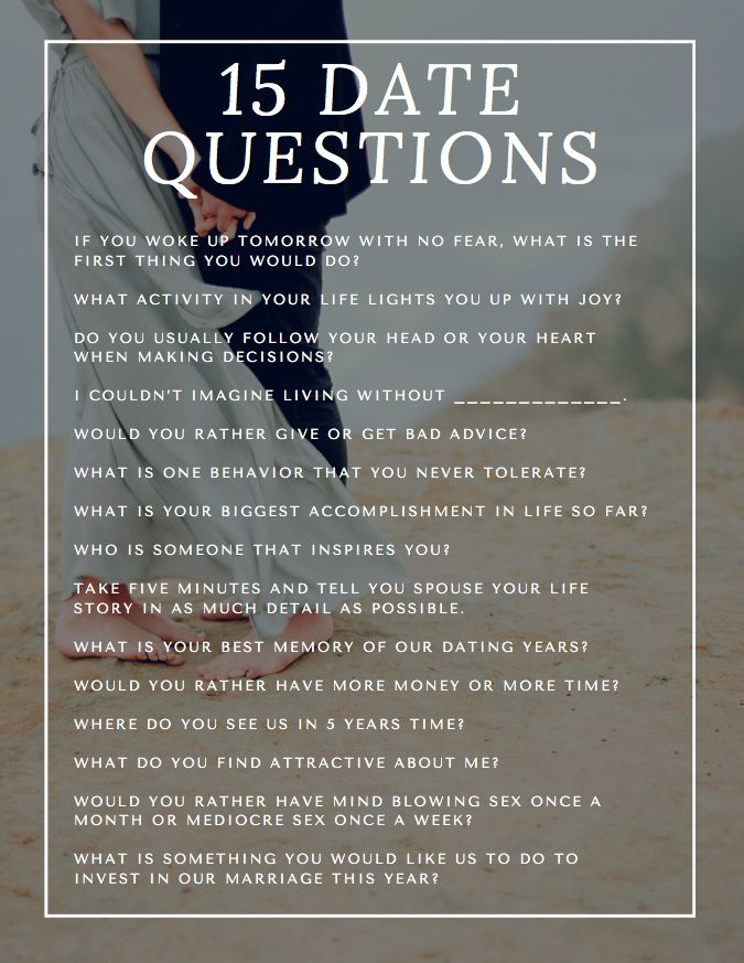 List of questions for online dating