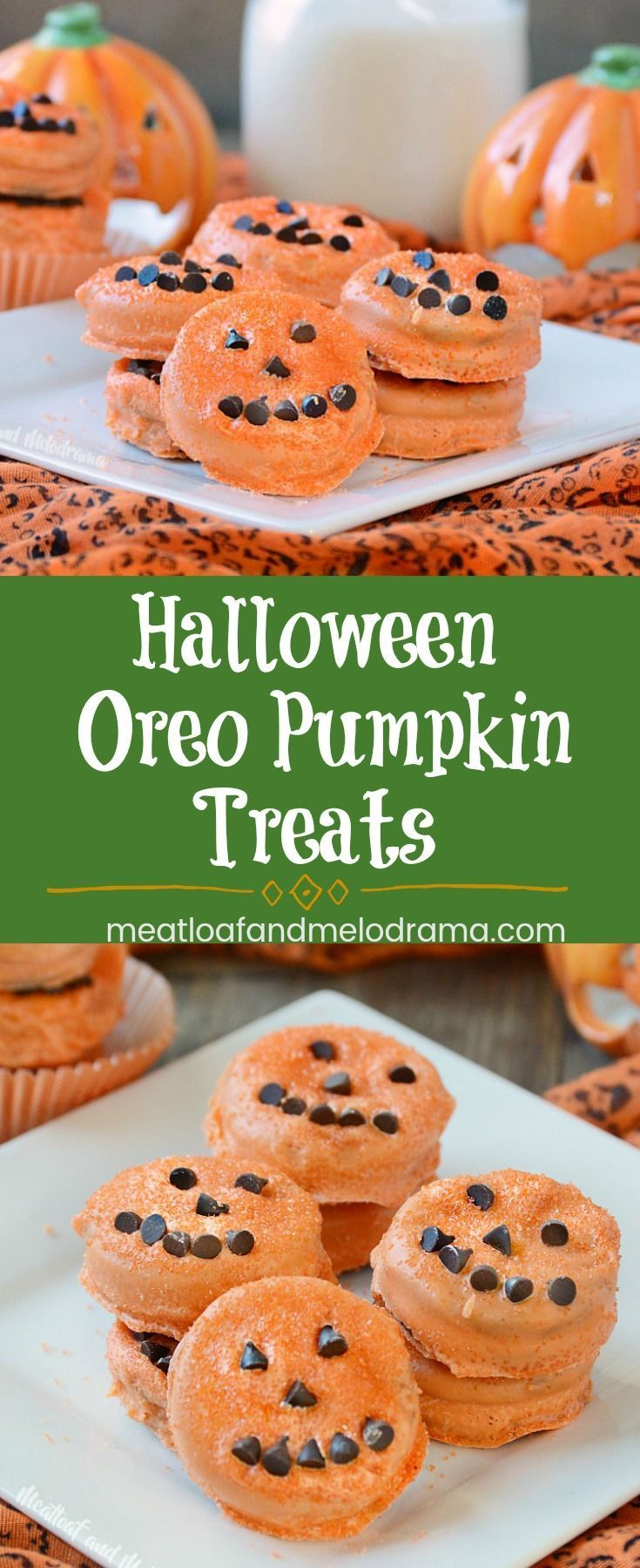 Halloween Oreo Pumpkin Treats - Easy Halloween treats made with Oreo sandwich cookies, candy melts and chocolate chips. perfect for kids parties, snacks or dessert for the family! from Meatloaf and Melodrama #halloweenparty #Halloween #pumpkins
