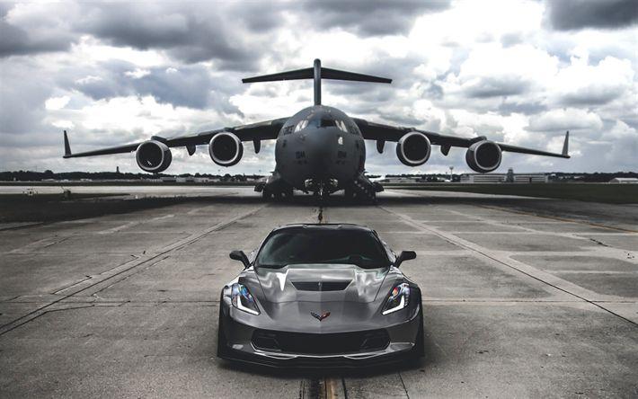 Download wallpapers Chevrolet Corvette Z06, 2017 cars, Boeing C-17 Globemaster III, supercars, aerodrome, Chevrolet
