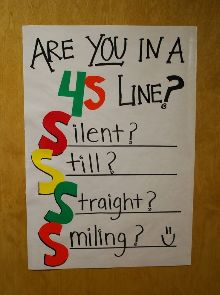 "Great idea and easy for students to remember while in line. You can even add pictures of students when you ""catch"" them following the 4s. Line behavior, very positive, love it!"