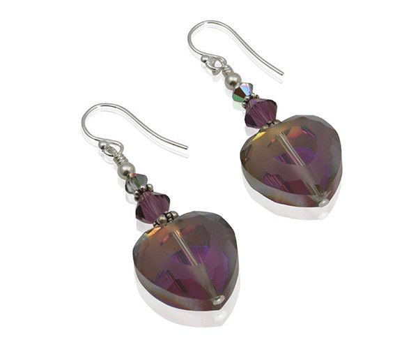 Enjoy these beautiful handmade amethyst purple heart beaded earrings created with Swarovski Austrian crystals, glass hearts, Bali .925 silver & sterling silver