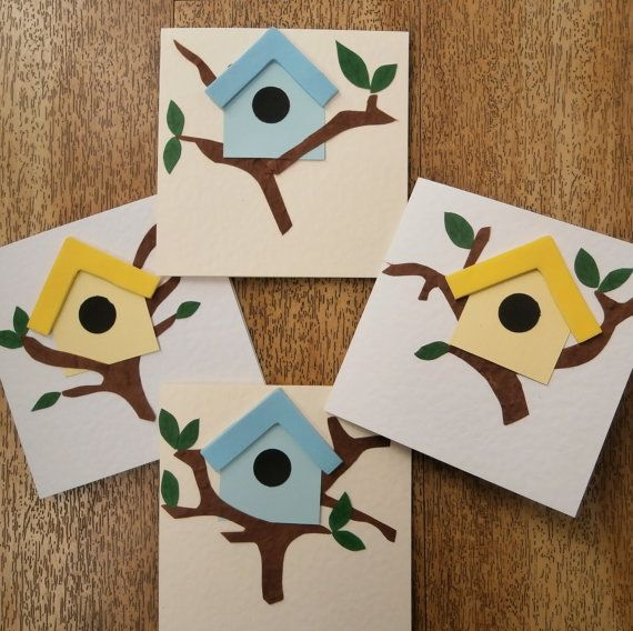 Nest box card. Pack of 4.New Home cards by onelittlepug on Etsy