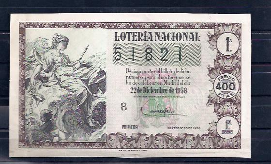 Loteria sorteo 36 de 1958 Navidad