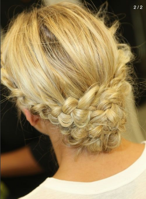 Braided Updos at Monique Lhuillier's Fall 2014 Bridal Collection