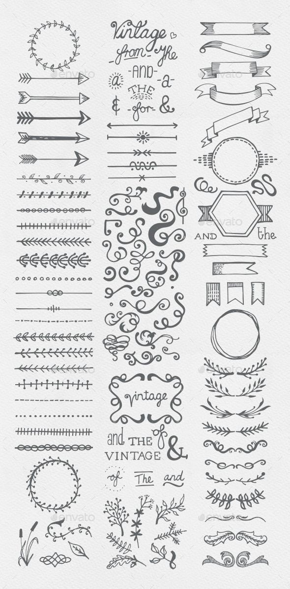 Hand Drawn Vintage Elements Collection for bullet …