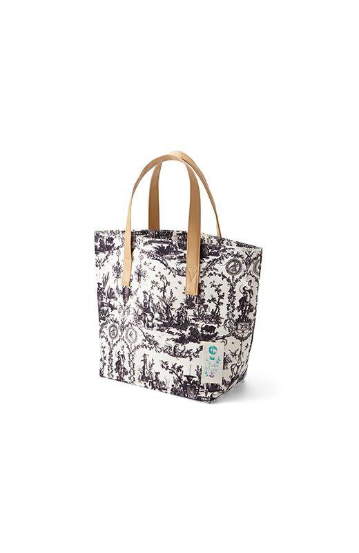 ファッションに合わせてそろえたいシックな色合い haco! Toile de Jouy(トワルドジュイ) FOR PBP キャンパストートバッグ<グレー>