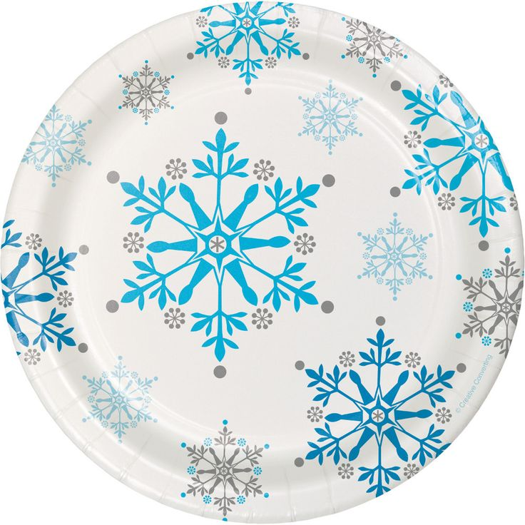"Just what's needed to set the table at your Snowflake, Winter, or Frozen Party! + Package contains (8) paper dessert plates as pictured + Each plate is approx. 7"" in diameter"