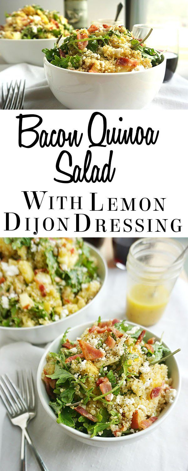 Swap chicken for bacon Quinoa Salad with Lemon Dijon Dressing (brought to you by Rachel from Savoring Simple) is a fresh, colorful salad that's great with grilled meats, or on its own as a meal.