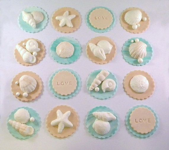 Beach Sand Shell Fondant Cupcake Toppers Wedding Edible