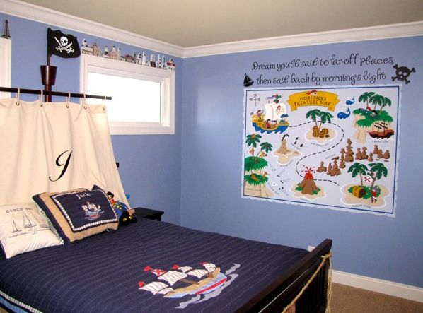 Super cute pirate bedroom decor idea ...this is the theme the boys want in their new room!
