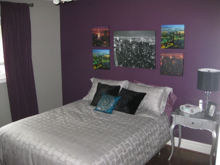 I Want To Do Our Bedroom Purple Accent Wall Go With Out Black Furniture Plus Still Allows For Versatile Bedspreads Grey Red Gold Yellow
