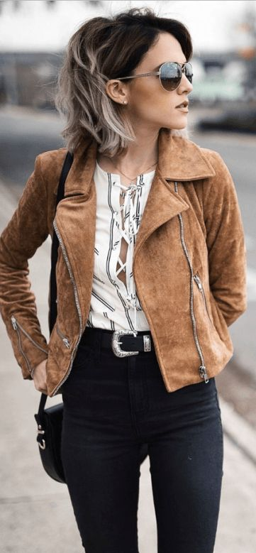 this suede tan jacket looks perfect with a black belt for fall - love this fall outfit!