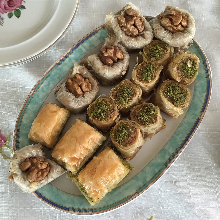 Baklava, a sweet pastry made of layers of phyllo dough, chopped nuts and sweetened with syrup.
