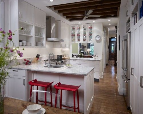 beams, cabinet: Cabinets, Ideas, Contemporary Kitchens, Kitchens Contemporary, Small Kitchens Design, Kitchens Countertops, General Contract, Kitchens Layout, White Kitchens