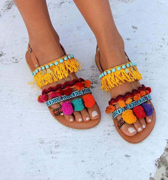 Pom pom Sandali sandali di cuoio greca Boho chic Sandali