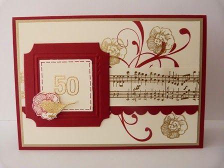 Invitations for an anniversary of a choir - Everything Eleanor, gold emboss powder, cherry cobbler, Fun Frames embossing folder