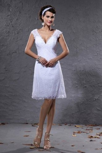 A-line V-neck Short Sleeves Little White Wedding Dress , perfect for beach wedding, very pretty ....