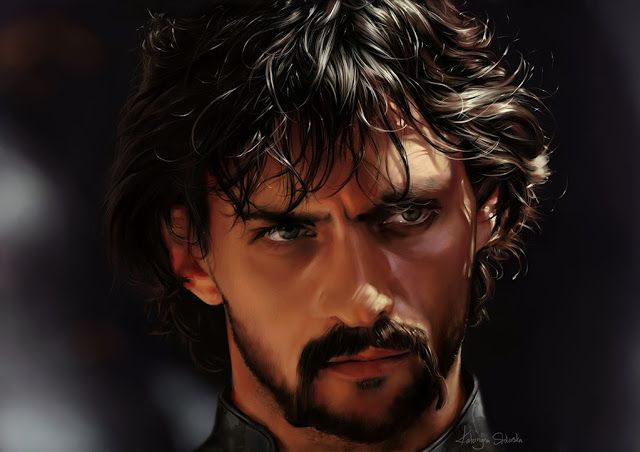 "Digital portrait of Jurko Bohun, played by Aleksandr Domogarov in Polish movie and tv mini-series ""With Fire and Sword"" (1999). #digital, #art, #portrait"