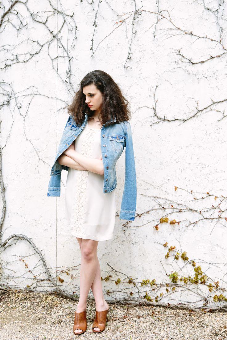 Cream Crochet Shift Dress + Buffalo Jeans Nadine Denim Jacket lilyandviolet.com