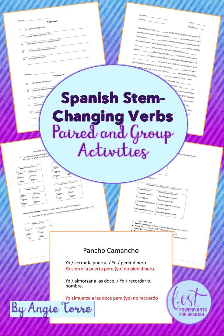 Spanish Stem Changing Verbs Paired And Group Activities Distance Learning How To Speak Spanish Group Activities Spanish Curriculum [ 1102 x 736 Pixel ]