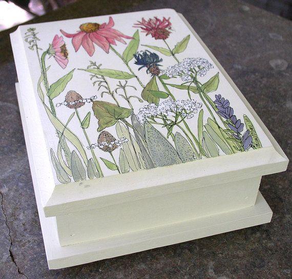 Painted Furniture Farmhouse Style Wooden Storage Box Cottage Garden Wildflowers