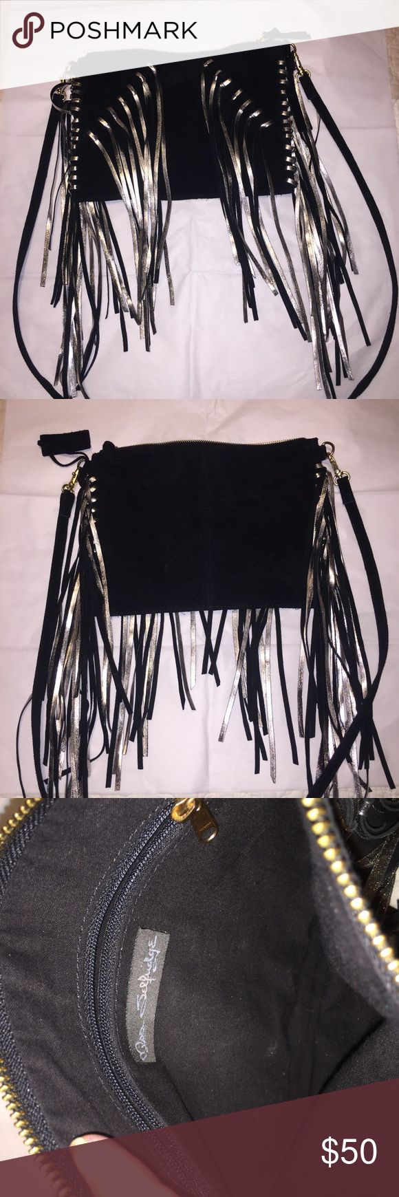 """✨Miss Selfridge Leather Fringe Cross Body Small-medium sized black suede leather bag. Bag includes inner zipper and detachable strap. It measures 11"""" across and 8""""high. x Miss Selfridge Bags Crossbody Bags"""