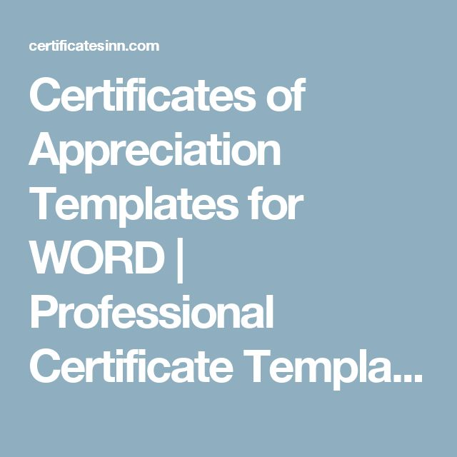 The 25+ best Certificate templates for word ideas on Pinterest - certificate of appreciation template for word