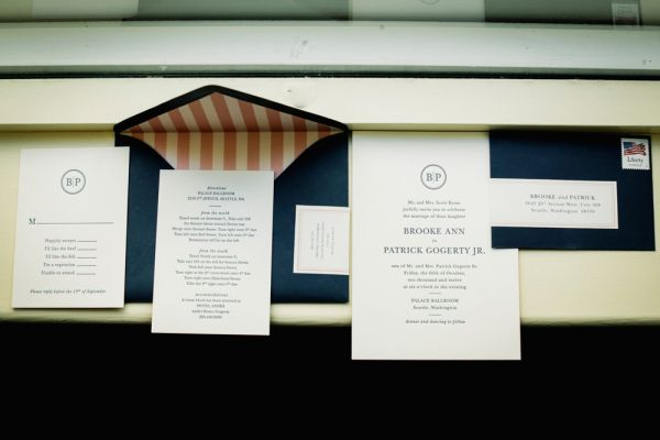 Navy and Salmon Pink Wedding Stationery | photography by http://photography.michelemwaite.com/