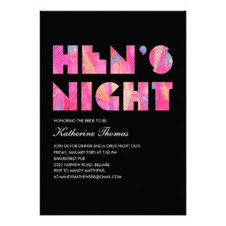 Black Modern Hen's Night Invitations