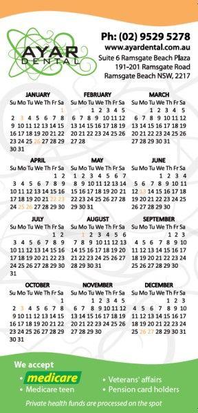Calendar Printing for Ayar Dental