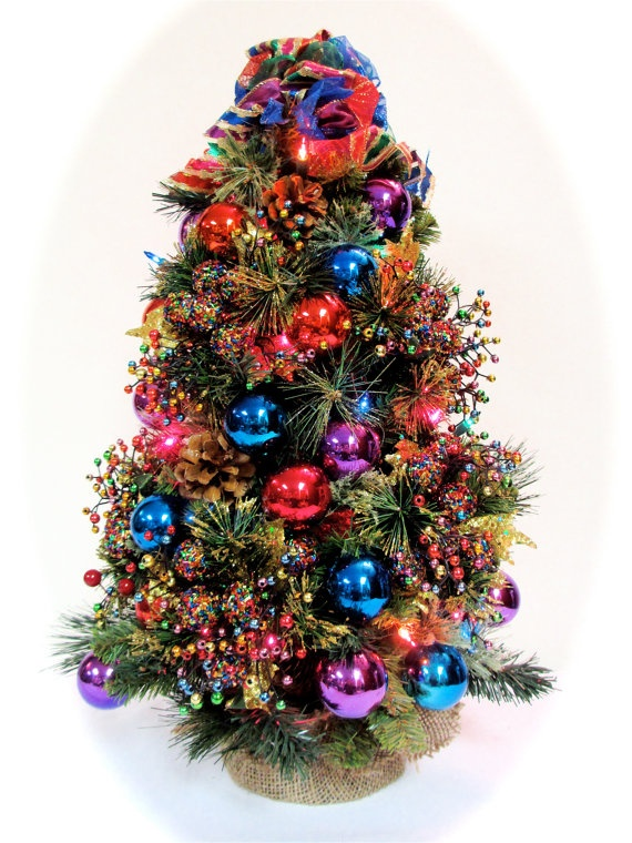 sold 2 bright jewel tone tabletop christmas tree with lights by sandynewhartdesigns - Tabletop Christmas Trees With Lights
