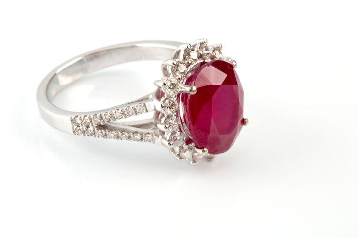 15%off 5.62ct Ruby Ring & Diamond 14K Ring Halo Gold Ring