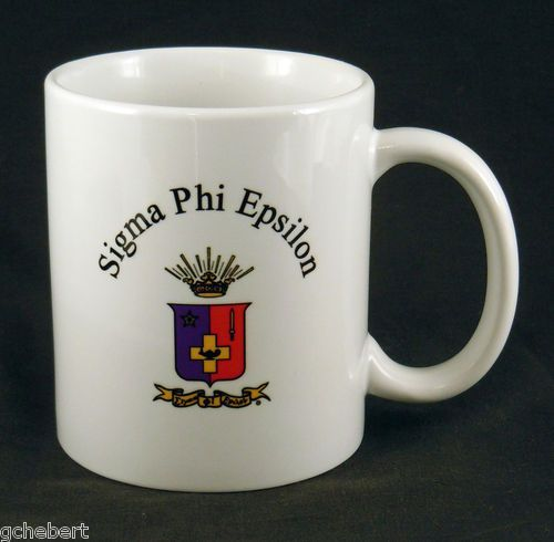 Sigma Phi Epsilon Fraternity Name and Crest Coffee Mug available in Good Things From Louisiana, an ebay store.