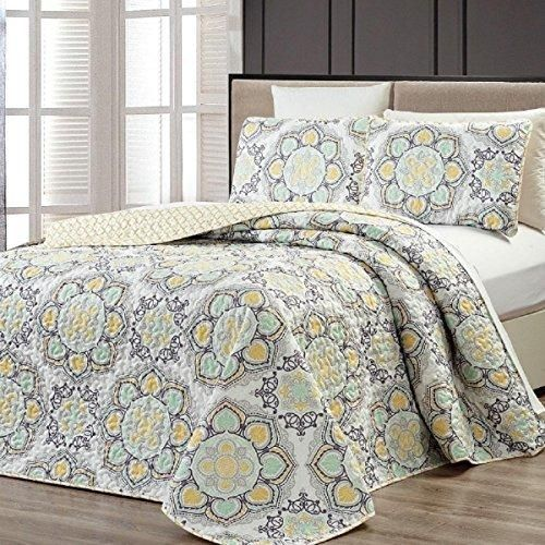 Yellow Medallion Pattern Bedspread Queen Set Oversized Madala Floral Textured Bohemian Geometric Bedding Abstract Bold Colors Unisex