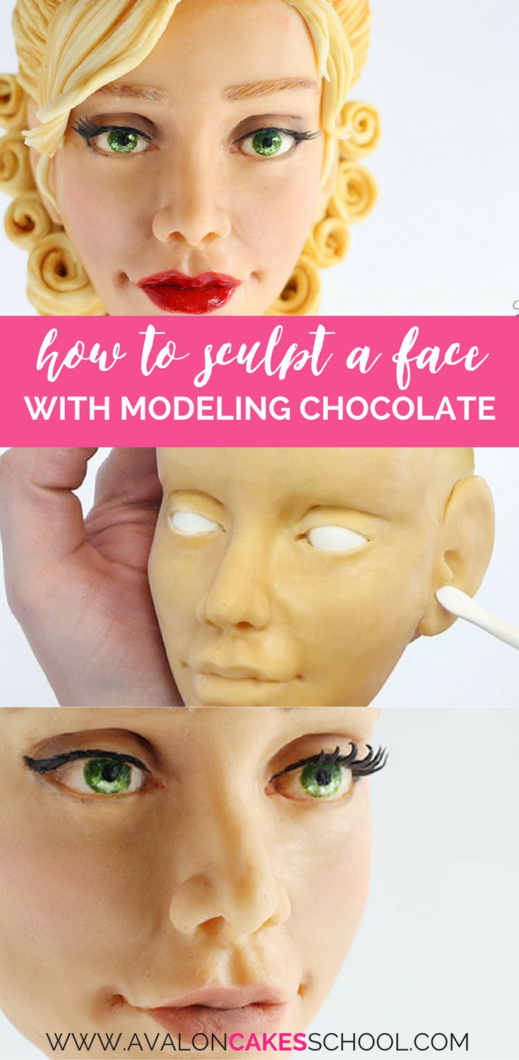Learn how to make human faces out of modeling chocolate! Perfect for cake decorators but also a great lesson for other mediums. Only at avaloncakesschoool.com HD Video Tutotrial, step by step