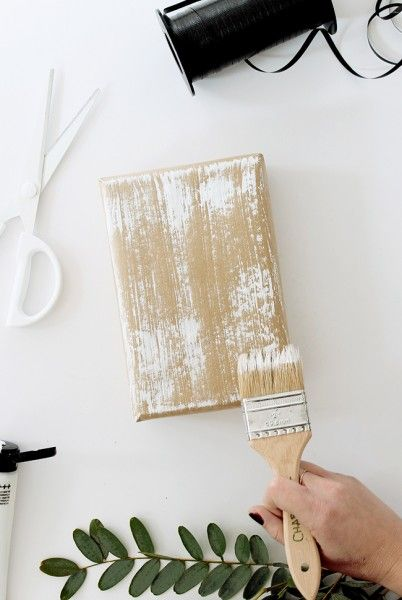 diy dry brush gift wrap   almost makes perfect